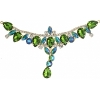 Crystal Motifs T-shape 17x8.5cm Green Aurora Borealis/gold